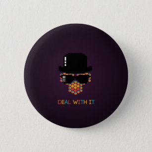 Deal with it - pattern monkey with a pixel hat 6 cm round badge