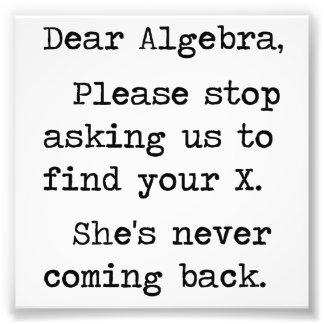 Dear Algebra Please Stop Asking Us To Find Your X Photo Art