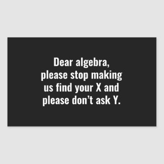 Dear Algebra Rectangular Sticker