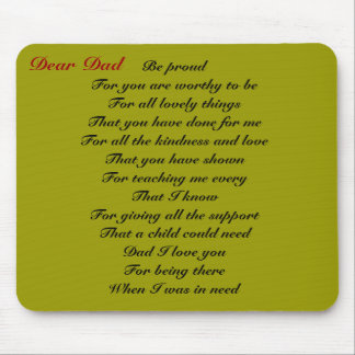 Dear dad father's day tribute mouse pad