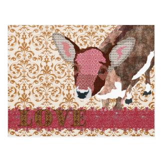 Dear Deer Pink & Gold Damask  Postcard