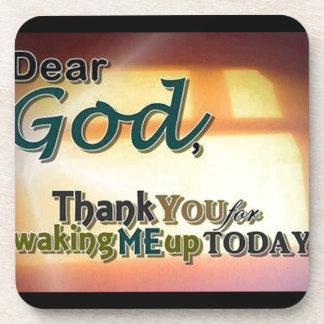 Dear God Beverage Coaster