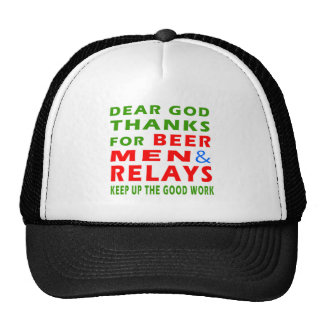 Dear God Thanks For Beer Men And Relays Mesh Hat