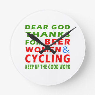 Dear God Thanks For Beer Women And Cycling Clock