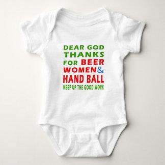 Dear God Thanks For Beer Women And Hand Ball Baby Bodysuit