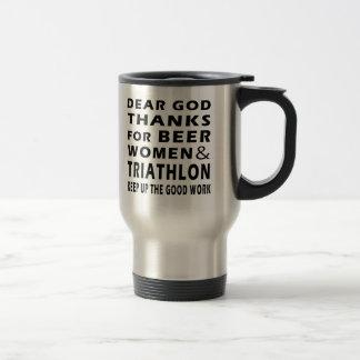 Dear God Thanks For Beer Women and Triathlon Mug