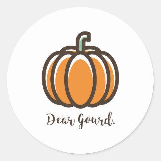 """""""Dear Gourd"""" Pumpkin Sticker"""