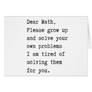 Dear math solve your own problems card