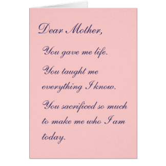 Dear Mother Card