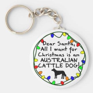 Dear Santa Australian Cattle Dog Key Ring
