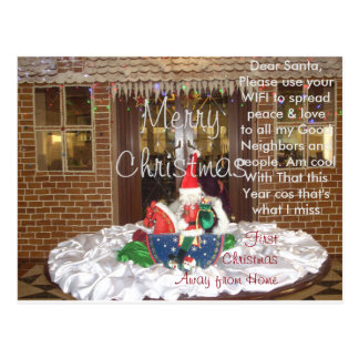 Dear Santa Away from home this Christmas New year Postcard