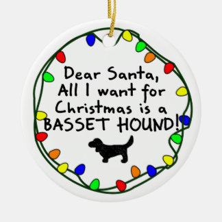 Dear Santa Basset Hound Ceramic Ornament