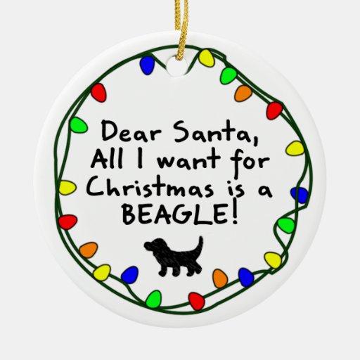 Dear Santa Beagle Christmas Ornament