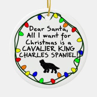 Dear Santa Cavalier King Charles Spaniel Ceramic Ornament