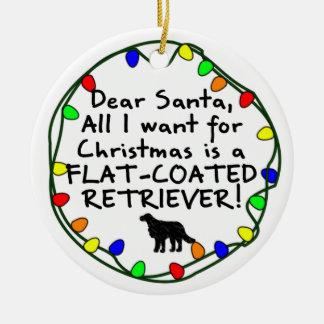 Dear Santa Flat-Coated Retriever Ceramic Ornament