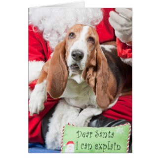 Dear Santa I can Explain Basset Hound Greeting Card