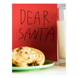 Dear Santa Milk and Cookies Christmas Postcard
