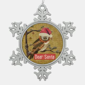 Dear Santa Owl Ornament