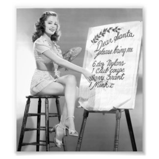 Dear Santa Pinup Girl Photo Print