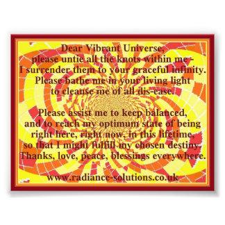 Dear Vibrant Universe Prayer on Decorative Art Photo Print