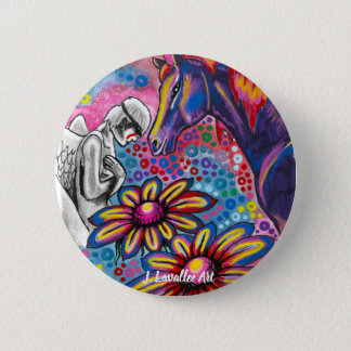 """""""Death and Her Horse, Life"""" 6 Cm Round Badge"""