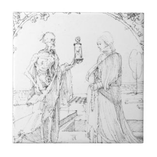 Death and wife by Albrecht Durer Small Square Tile