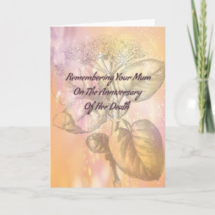 Death anniversary gifts on zazzle au death anniversary card for mum in gold m4hsunfo