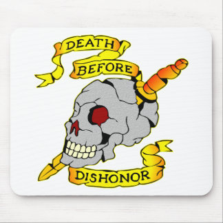 Death Before Dishonor Skull & Dagger Tattoo Mouse Pad