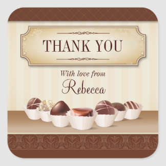 Death by Chocolate Large Thank You Square Sticker