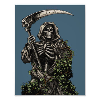 Death - Evil Skeleton Grim Reaper with Scythe Photo