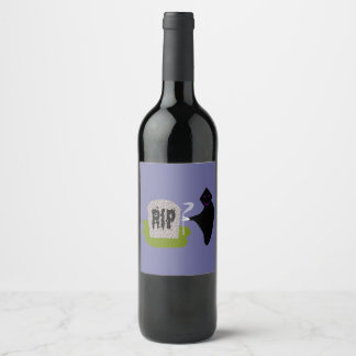 Death in thr Cemetery Halloween Wine Bottle Labels
