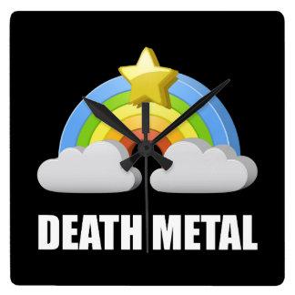 Death Metal Rainbow Square Wall Clock