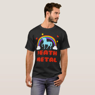 Death Metal Unicorn Rainbow Funny T-shirt - heavy