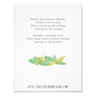Death of a Season - 8.5 x 11 Poetry Printable Photo Print