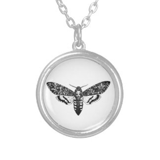 Death`s head hawkmoth silver plated necklace