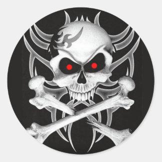 Death s Skull and Crossbones Round Sticker