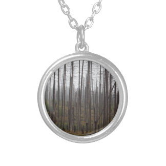 Death spruce trees silver plated necklace