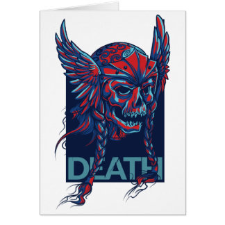 death with flying skull design card