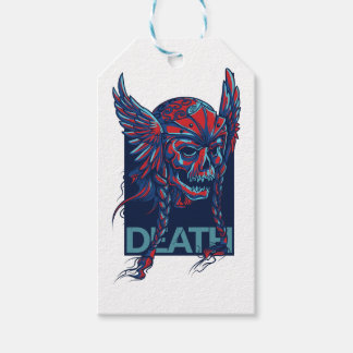 death with flying skull design gift tags