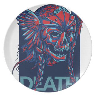 death with flying skull design plate