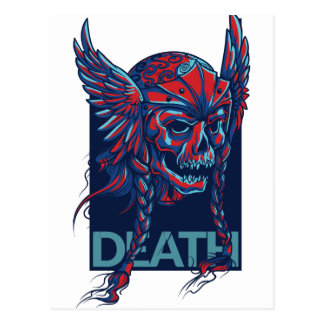 death with flying skull design postcard