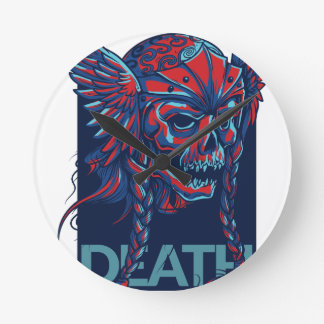 death with flying skull design round clock