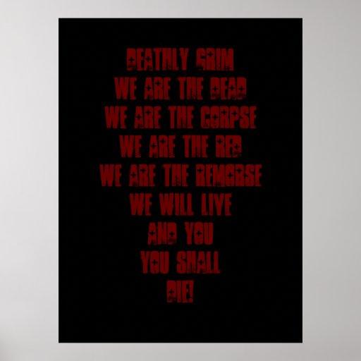 Deathly Grim Lyrics Poster
