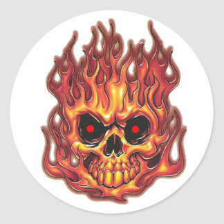 Death's Flames Classic Round Sticker