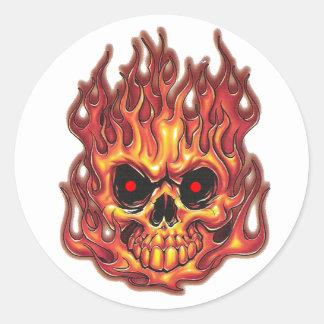 Death's Flames Round Sticker