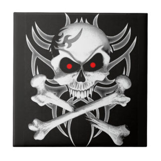 Death's Skull and Crossbones Small Square Tile