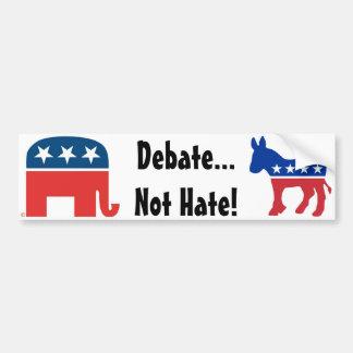 Debate, Not Hate - Political Bumper Sticker