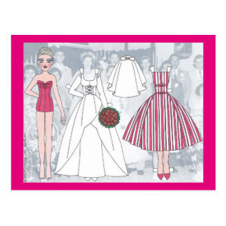 Debbie, A Young Bride of 1958 Paper Doll Postcard
