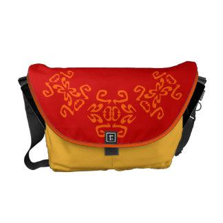 Debbie Red Bold Scrollwork Classy Commuter Bag