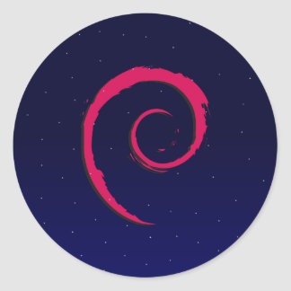 Debian stary night classic round sticker
